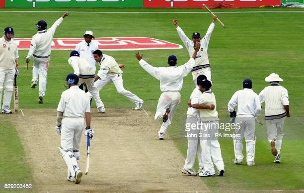 Joy for India as they claim victory at the third nPower test match on the fifth day at Headingley.England's Andrew Caddick trudges off as the last...