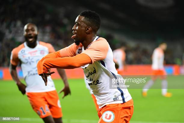 Joy for Isaac Mbenza of Montpellier as he puts his side 10 ahead during the Ligue 1 match between AS SaintEtienne and Montpellier Herault SC at Stade...