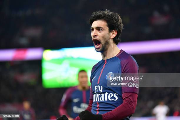 Joy for Javier Pastore of PSG as he fires his side 20 ahead during the Ligue 1 match between Paris Saint Germain and Lille OSC at Parc des Princes on...
