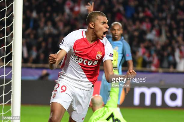 Joy for Kylian Mbappe Lottin of Monaco as he puts his side 10 ahead during the Uefa Champions League match between As Monaco and Manchester City...