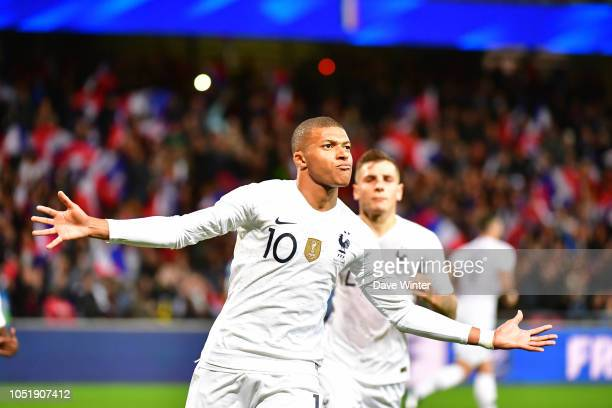 Joy for Kylian Mbappe of France as he makes it 22 during the international friendly match between France and Iceland on October 11 2018 in Guingamp...