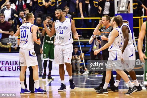 Joy for Levallois as they win the Pro A match between Levallois Metropolitans and Nanterre 92 at Salle Marcel Cerdan on January 13 2018 in Paris...