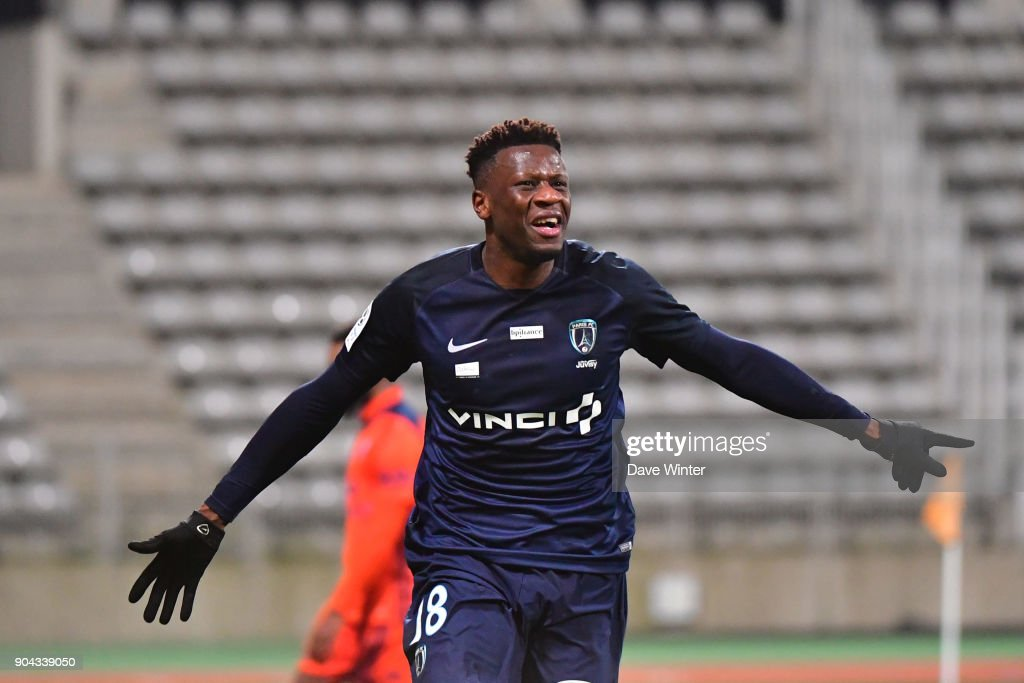 Joy for Malik Tchokounte of Paris FC as he puts his side 2-0 ahead during the Ligue 2 match between Paris FC and Bourg en Bresse (FBBP 01) at Stade Charlety on January 12, 2018 in Paris, France.