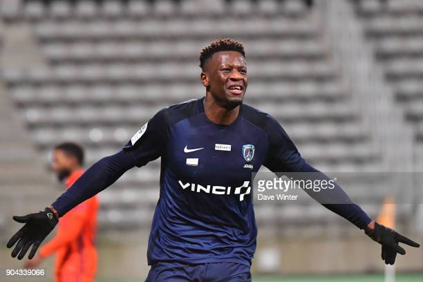Joy for Malik Tchokounte of Paris FC as he puts his side 20 ahead during the Ligue 2 match between Paris FC and Bourg en Bresse at Stade Charlety on...