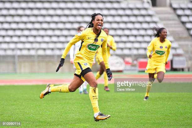 Joy for Marie Antoinette Katoto of PSG after putting her side 20 ahead during the Women's National Cup match between Paris FC and Paris Saint Germain...