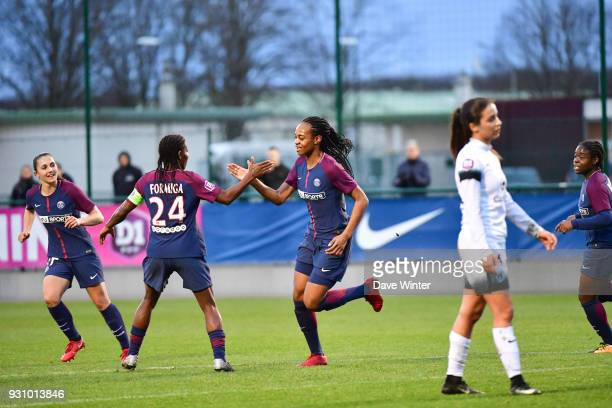 Joy for Marie Antoinette Katoto of PSG after she puts her side 10 ahead during the Women's Division 1 match between Paris Saint Germain and Paris FC...