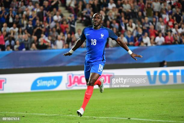 Joy for Moussa Sissoko of France as he puts his side 40 ahead during the soccer friendly match between France and Paraguay at Roazhon Park on June 2...