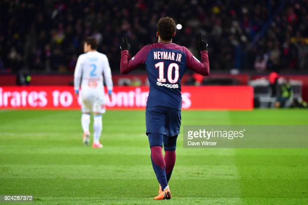 Joy for Neymar JR of PSG after his deflected shot puts his side 20 ahead during the Ligue 1 match between Paris Saint Germain and Olympique Marseille...