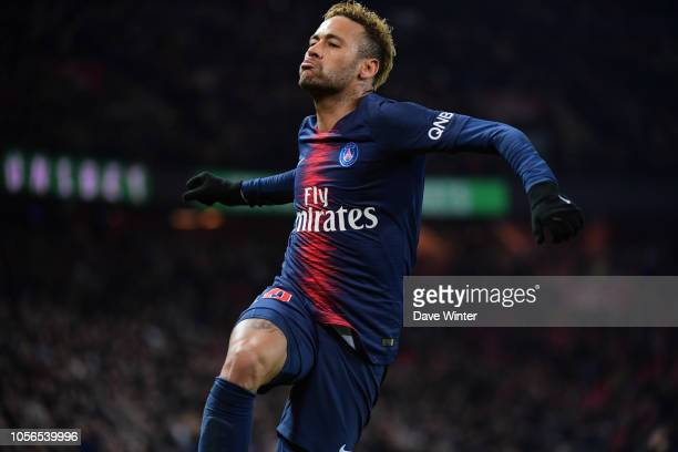 Joy for Neymar JR of PSG as he puts his side 20 ahead during the Ligue 1 match between Paris Saint Germain and Lille at Parc des Princes on November...