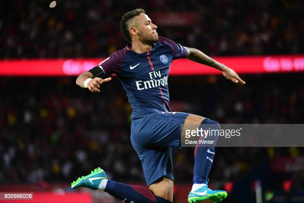 Joy for Neymar JR of PSG as he puts his side 52 ahead during the Ligue 1 match between Paris Saint Germain and Toulouse at Parc des Princes on August...