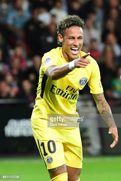 Joy for Neymar JR of PSG as he scores his first goal for his new club in putting them 30 ahead during the Ligue 1 match between EA Guingamp and Paris...