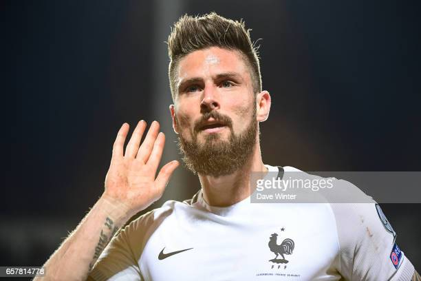 Joy for Olivier Giroud of France as he heads his side 31 ahead during the FIFA World Cup 2018 qualifying match between Luxembourg and France on March...