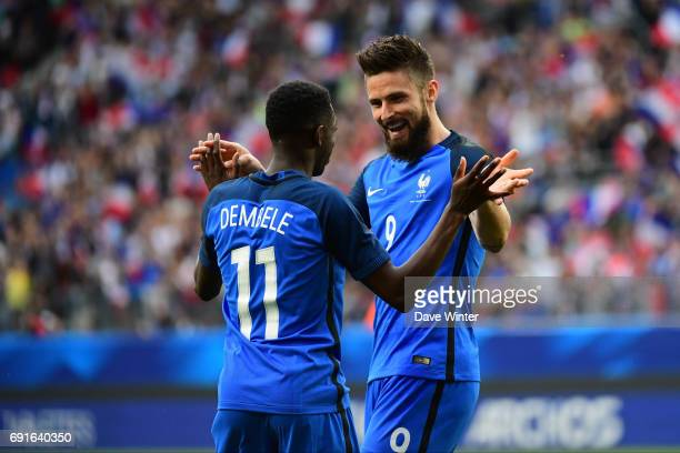 Joy for Olivier Giroud of France as he puts his side 10 ahead from a cross made by Ousmane Dembele of France during the soccer friendly match between...