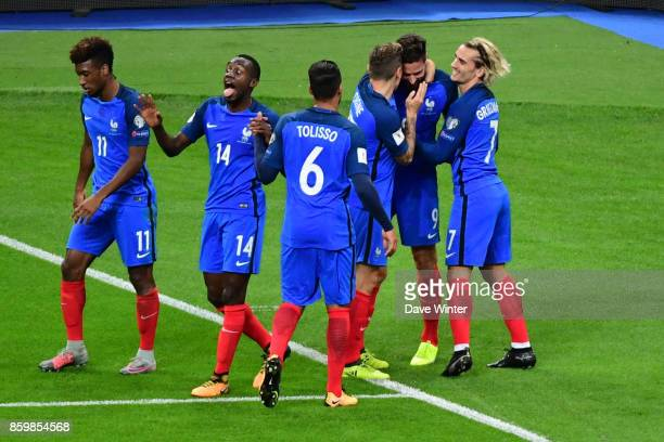 Joy for Olivier Giroud of France as he puts his side 20 ahead during the Fifa 2018 World Cup qualifying match between France and Belarus on October...
