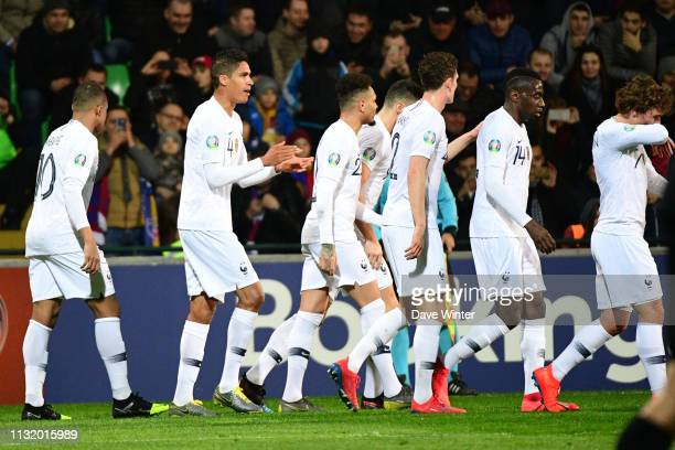 Joy for Raphael Varane of France heads his side 20 ahead during the Qualifying European Championship match between Moldova and France at Zimbru...