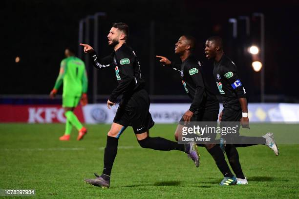 Joy for Salim Issaad of Noisy Le Grand FC as he puts his side 21 ahead during the French Cup match between Noisy le Grand and Gazelec Ajaccio on...