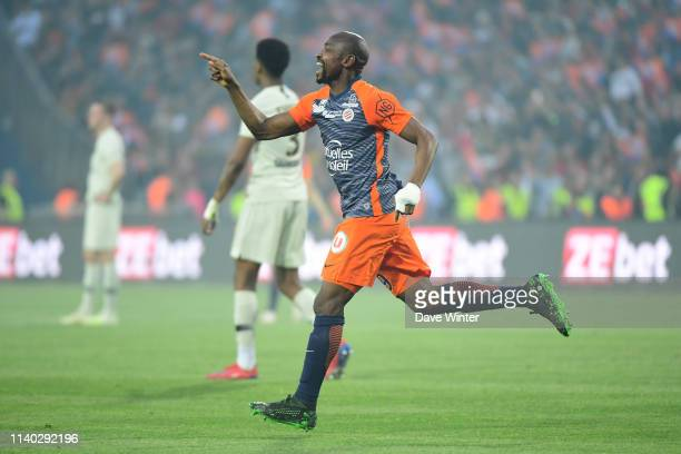 Joy for Souleymane Camara of Montpellier as he puts his side 32 ahead during the Ligue 1 match between Montpellier and Paris Saint Germain on April...