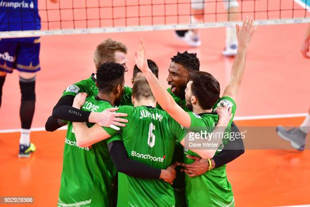 Joy for Tourcoing during the Ligue A match between Paris Volley and Tourcoing on March 16 2018 in Paris France