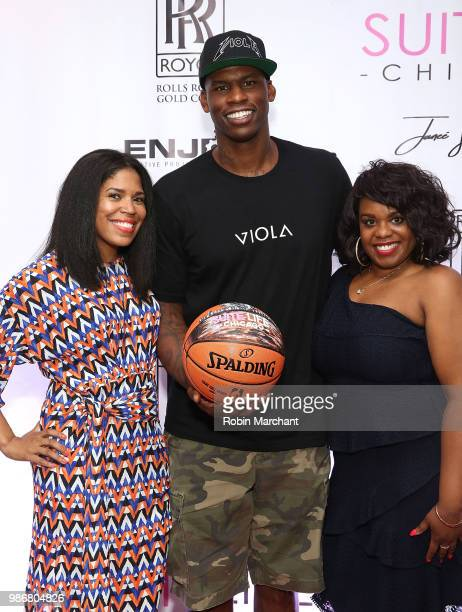 Joy Glover Al Harrington and Erika Janee Jordan attend Suite Life Welcome The BIG 3 NBA Veterans To Chicago at Perillo Rolls Royce on June 28 2018 in...
