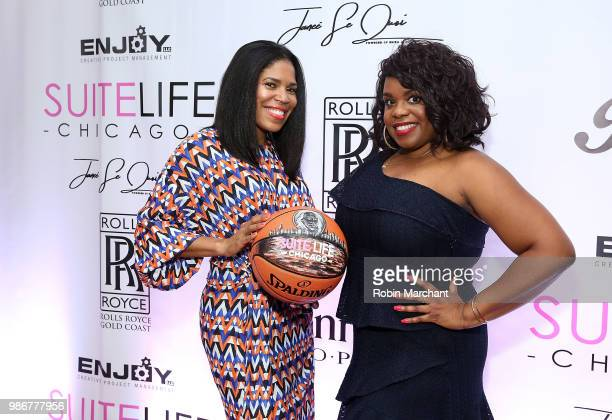 Joy Glover and Erika Janee Jordan attend Suite Life Welcome The BIG 3 NBA Veterans To Chicago at Perillo Rolls Royce on June 28 2018 in Chicago...