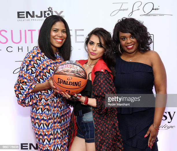 Joy Glover Jacqui Rovirosa and Erika Janee Jordan attend Suite Life Welcome The BIG 3 NBA Veterans To Chicago at Perillo Rolls Royce on June 28 2018...