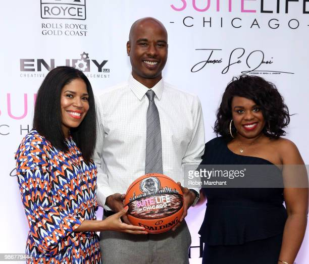 Joy Glover Quentin Richardson and Erika Janee Jordan attend Suite Life Welcome The BIG 3 NBA Veterans To Chicago at Perillo Rolls Royce on June 28...
