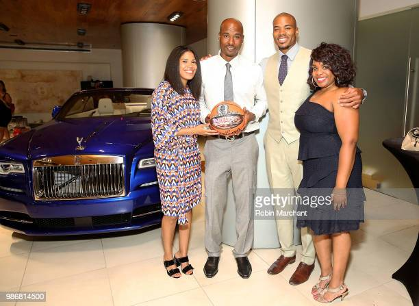 Joy Glover Quentin Richardson Corey Maggette and Erika Janee Jordan attend Suite Life Welcome The BIG 3 NBA Veterans To Chicago at Perillo Rolls...