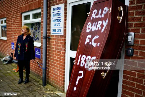 Joy Hart a former director of Bury Football Club handcuffs herself to Gigg Lane stadium the home of struggling football club Bury on August 22 2019...