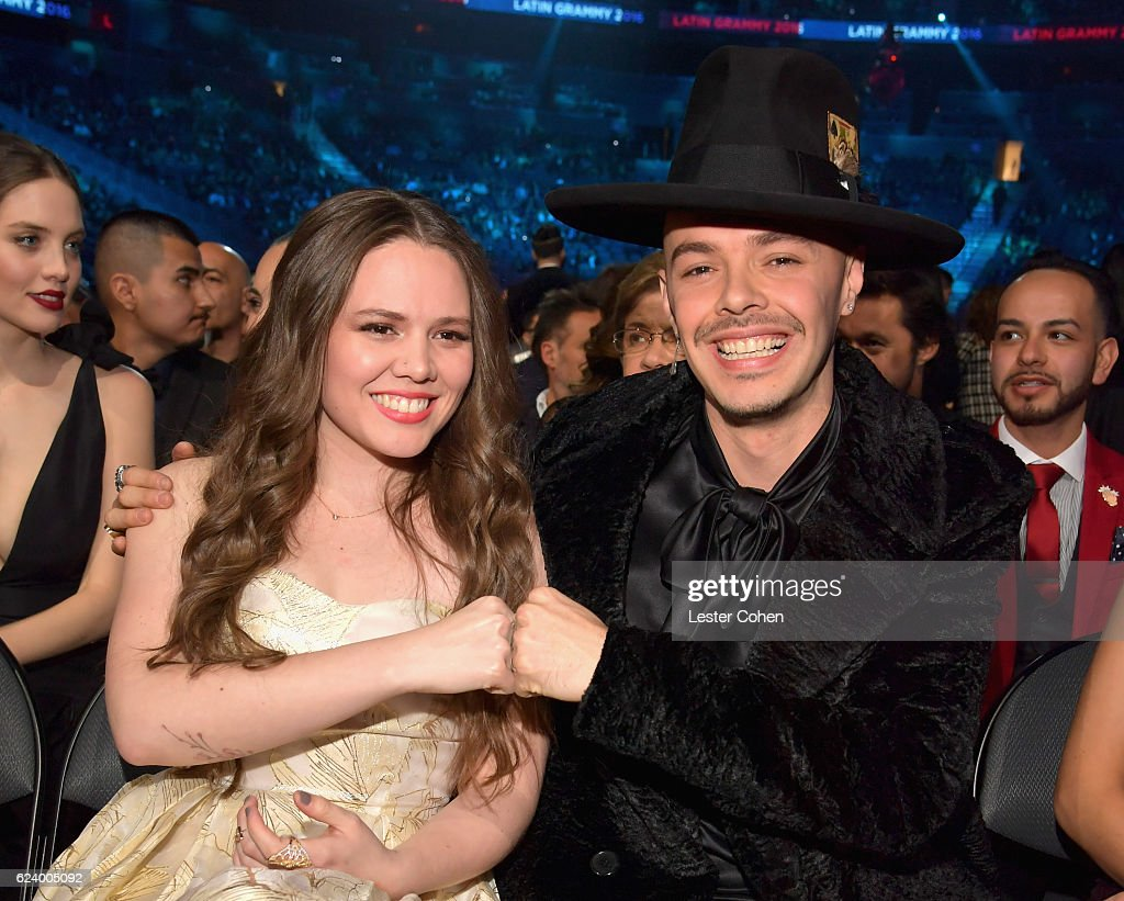 Joy Huerta (L) and Jesse Huerta of Jesse y Joy attend The 17th Annual Latin Grammy Awards at T-Mobile Arena on November 17, 2016 in Las Vegas, Nevada.