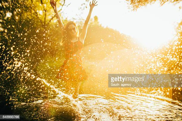 Joy in river
