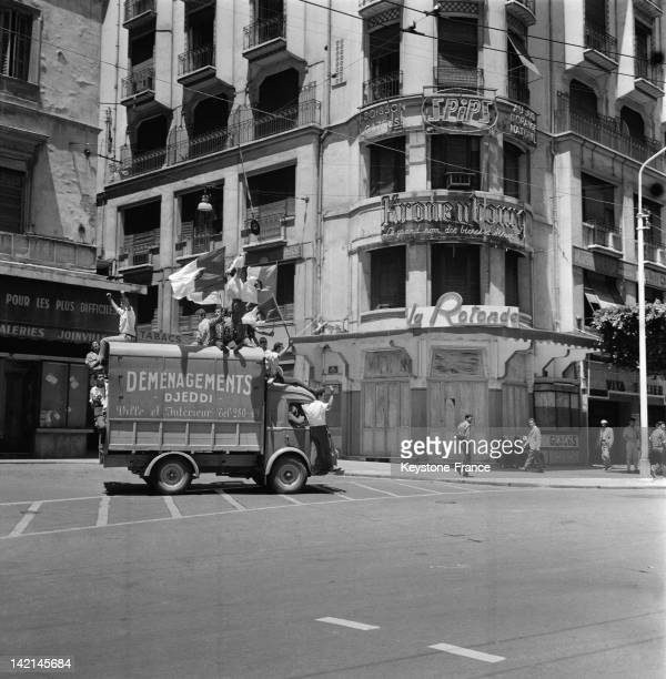 Joy in the streets after the proclamation of the independence on July 5 1962 in Algiers Algeria