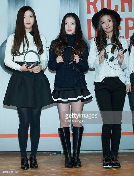 Joy Irene and Seulgi of girl group Red Velvet pose for photographs at the launch event for new products of 'SHURE' on November 14 2014 in Seoul South...