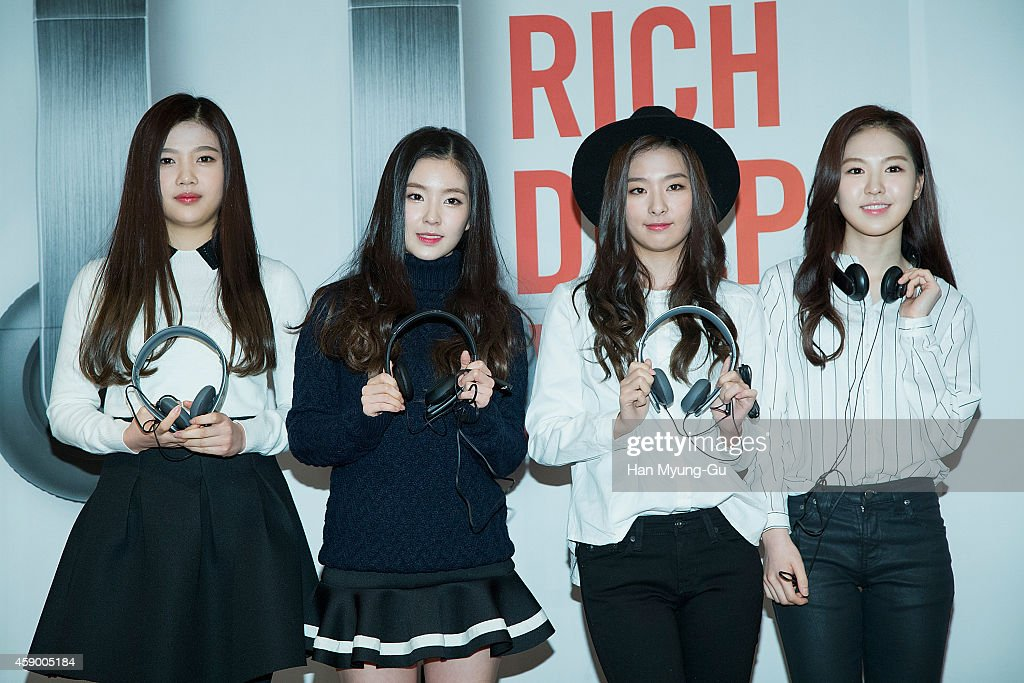 Joy, Irene, Seulgi and Wendy of girl group Red Velvet pose for photographs at the launch event for new products of 'SHURE' on November 14, 2014 in Seoul, South Korea.