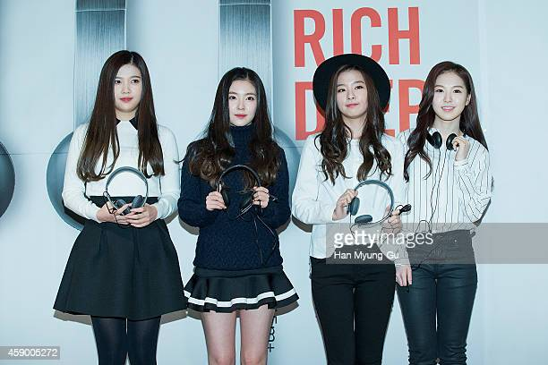 Joy Irene Seulgi and Wendy of girl group Red Velvet pose for photographs at the launch event for new products of 'SHURE' on November 14 2014 in Seoul...