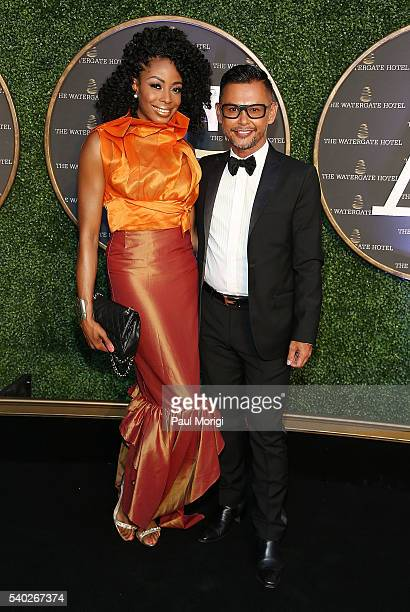 Joy Kingsley and stylist Erwin Gomez at the grand reopening party of the iconic Watergate Hotel on June 14 2016 in Washington DC