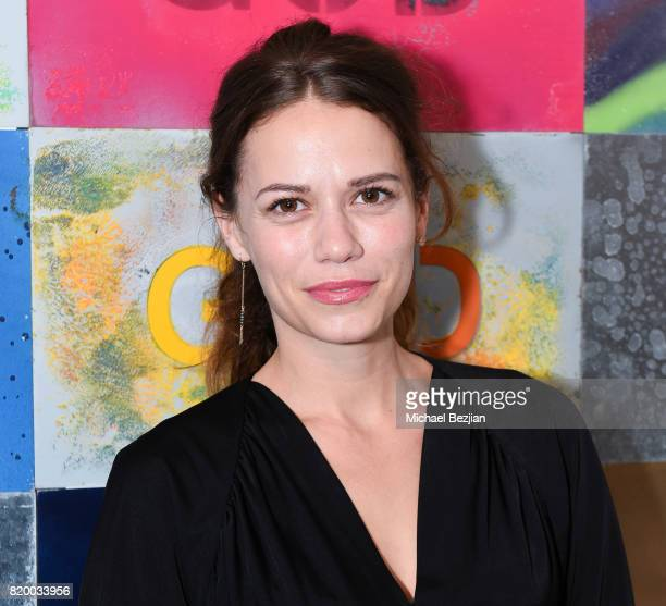 Joy Lenz arrives at Val Kilmer's PopUp Art Exhibition 'Icon Go On I'll Go On' VIP Opening Reception at The Gabba Gallery on July 20 2017 in Los...