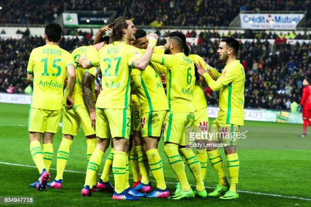 Joy Mariusz Stepinski of Nantes after scoring a goal with his team mates during the Ligue 1 match between Fc Nantes and Olympique de Marseille at...