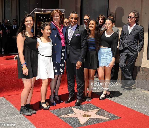 Joy McManigal and actor Giancarlo Esposito with his daughters attend the Giancarlo Esposito Star Ceremoney On The Hollywood Walk Of Fame on April 29...