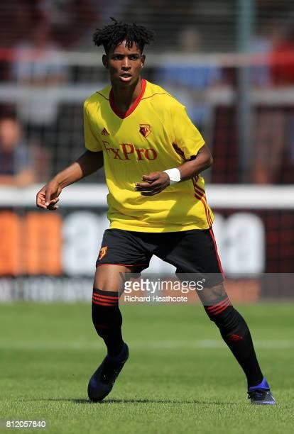 Joy Mukena of Watford in action during the preseason friendly match between Woking and Watford U23 at the Laithwaite Community Stadium on July 08...