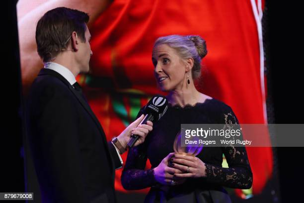 Joy Neville is interviewed by Alex Payne after receiving the World Rugby Referee Award during the World Rugby Awards 2017 in the Salle des Etoiles at...