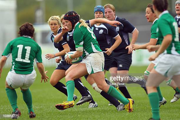 Joy Neville of Ireland in action during the seventh place PlayOff match between Scotland and Ireland in the IRB Women's Rugby World Cup at Surrey...