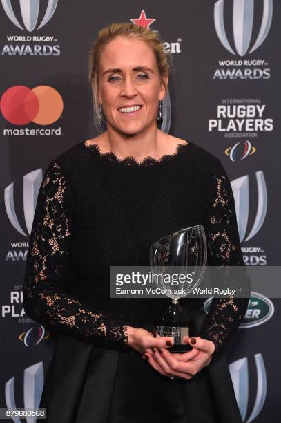 Joy Neville poses with the World Rugby via Getty Images Referee Award during the World Rugby via Getty Images Awards 2017 in the Salle des Etoiles at...