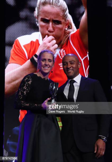 Joy Neville receives the World Rugby Referee Award from George Gregan during the World Rugby Awards 2017 in the Salle des Etoiles at MonteCarlo...