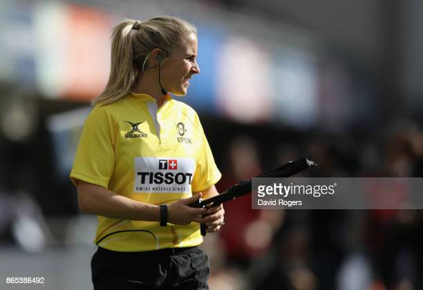Joy Neville the assistant referee looks on during the European Rugby Champions Cup match between Montpellier and Exeter Chiefs at Altrad Stadium on...