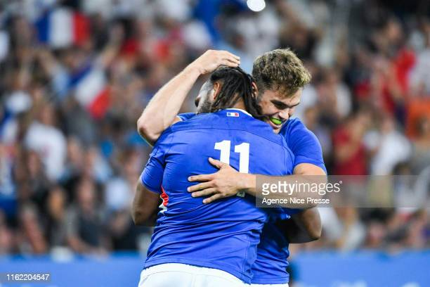 Joy of Aliveriti Raka and teammates of France during the test match between France and Scotland on August 17 2019 in Nice France
