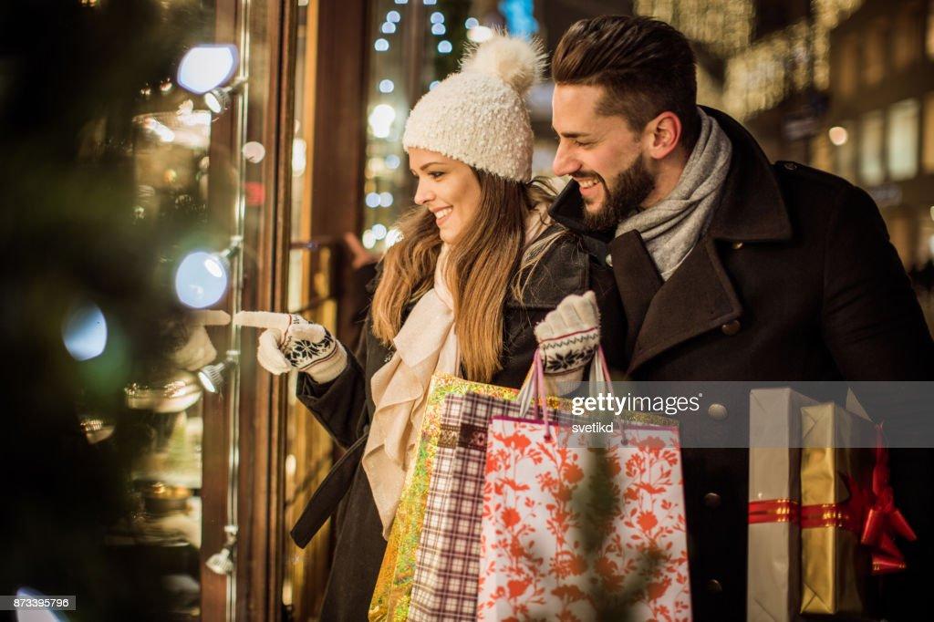 Joy of buying Christmas gifts : Stock Photo