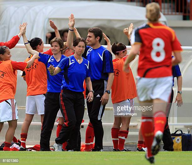 Joy of coach Maren Meinert of Germany after the goal of Kim Kulig of Germany during the Women's U19 European Championship match between Scotland and...