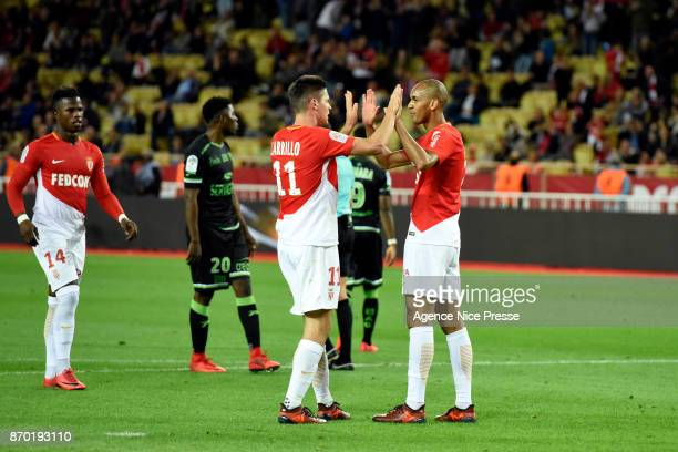 Joy of Fabinho of Monaco with Guido Carrillo during the Ligue 1 match between AS Monaco and EA Guingamp at Stade Louis II on November 4 2017 in Monaco