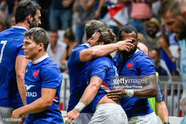 Joy of France during the test match between France and Scotland on August 17 2019 in Nice France