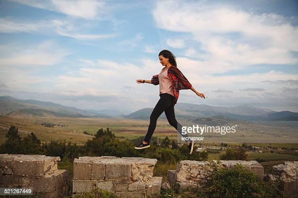 Joy of freedom on top of the mountain range